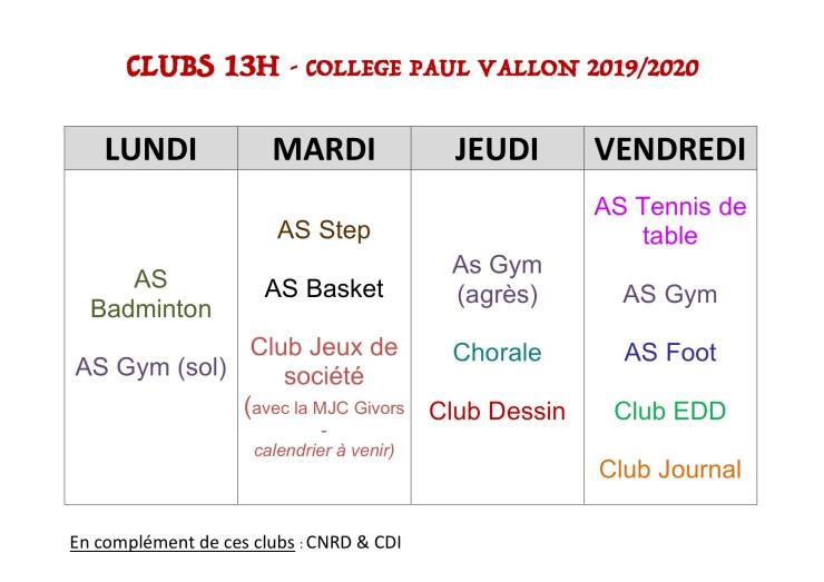 Clubs 13h 2019-20