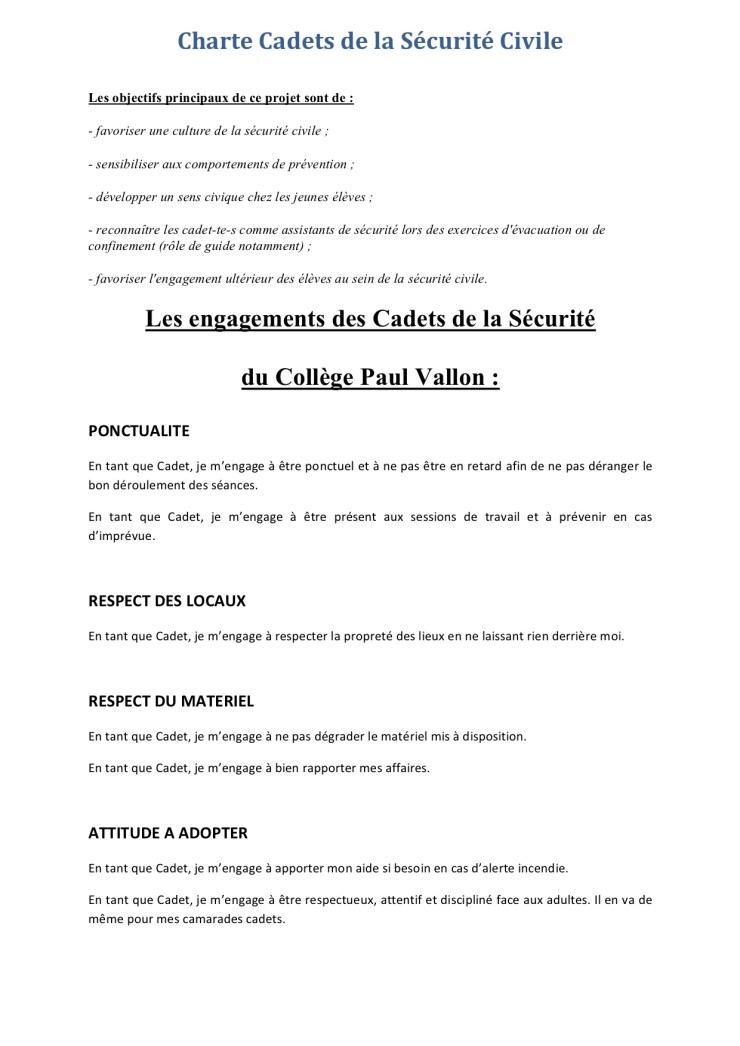 Charte Cadets de la Sécurité Civile