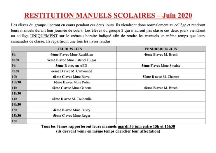 RESTITUTION MANUELS SCOLAIRES – Juin 2020